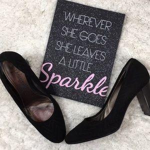 Aquatalia quilted black suede stacked heels